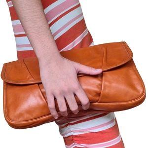 Vintage Tan Leather Clutch Handbag 32x21cm